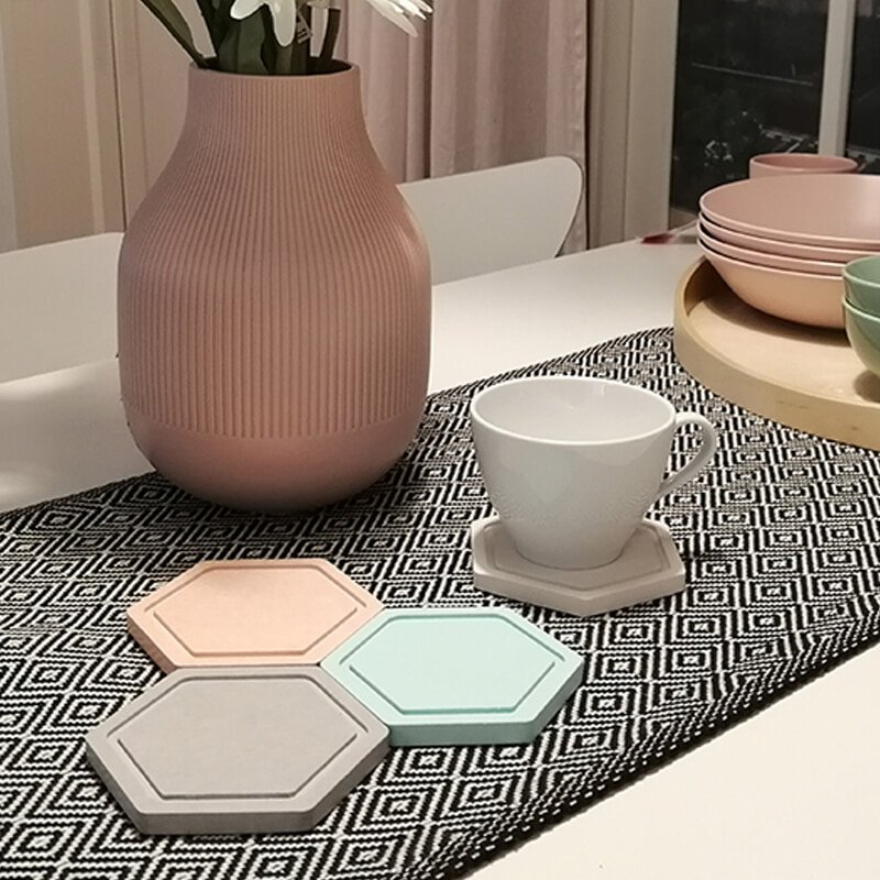 Diatomite Cup Coaster hexagon 2